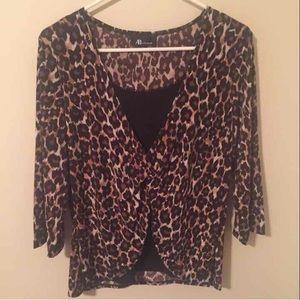 AB Studio Cheetah Print Blouse